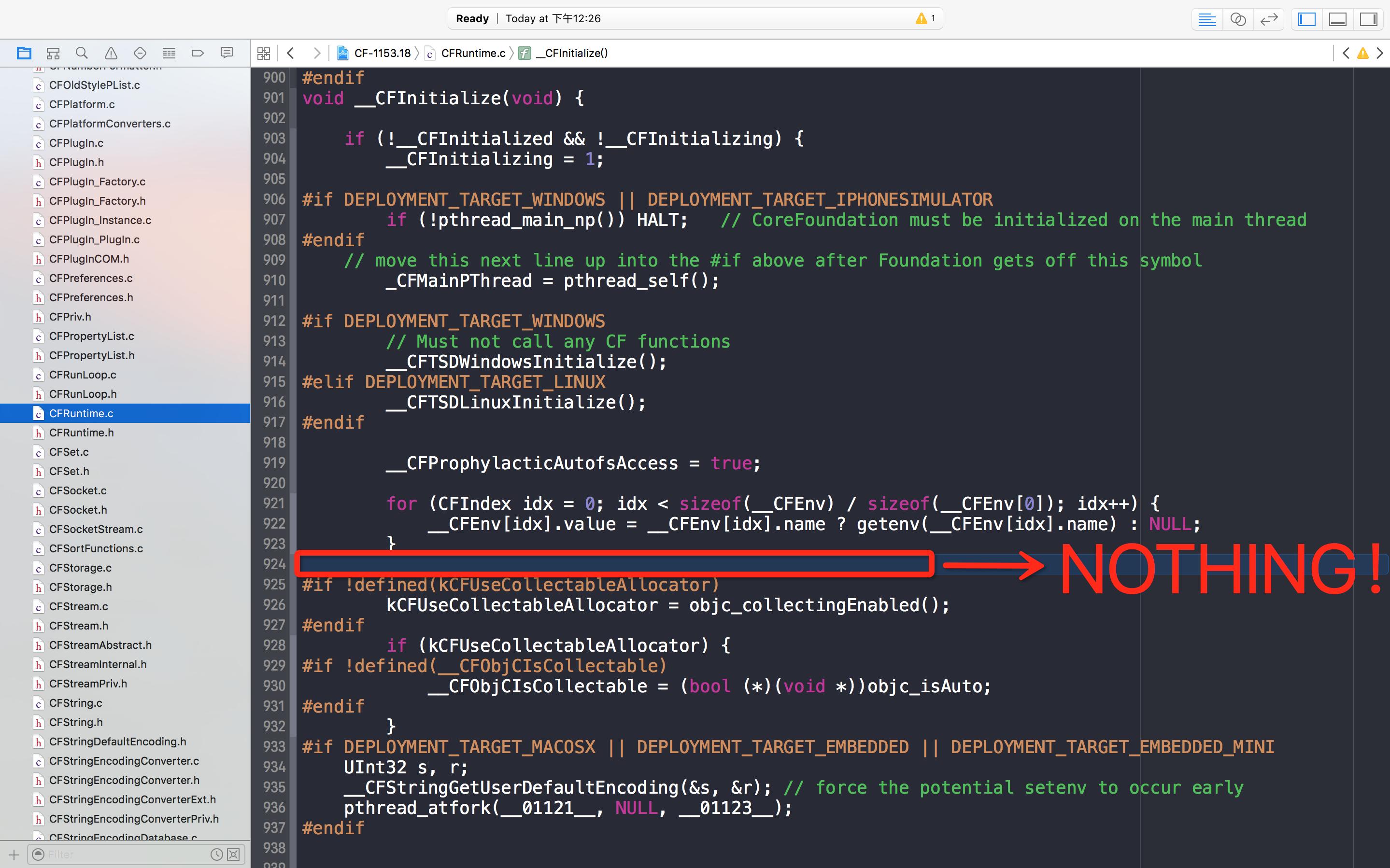 苹果提供的 __CFInitialize() 函数源码