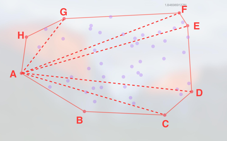 以 A 点将凸包划分成几个三角形